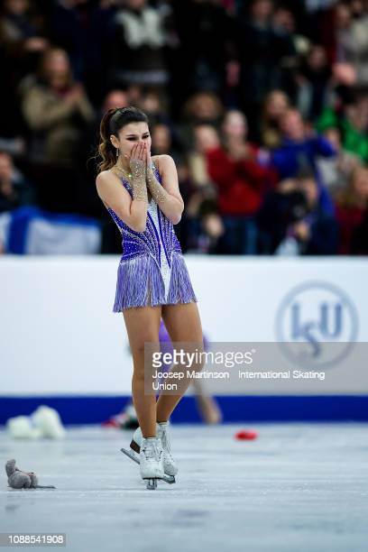 Sofia Samodurova of Russia reacts in the Ladies Free Skating during day three of the ISU European Figure Skating Championships at Minsk Arena on...