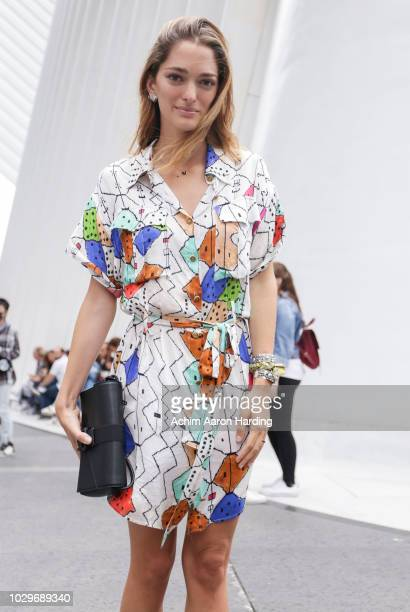 Sofia Sanchez be Betak is seen wearing a white Chufy dress and black shoes on the street during New York Fashion Week on September 8 2018 in New York...