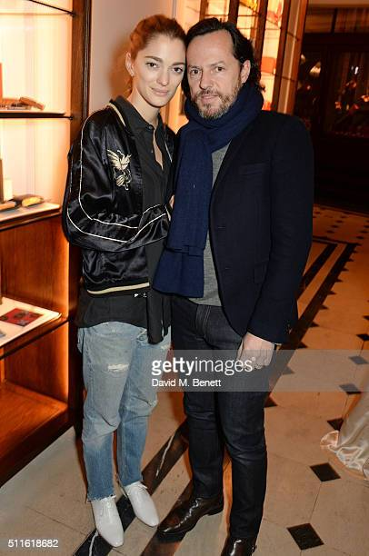 Sofia Sanchez de Betak and Alexandre de Betak attend as mytheresacom and Burberry celebrate the new MYT Woman at Thomas's on February 21 2016 in...