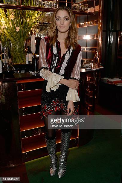 Sofia Sanchez de Betak attends a dinner hosted by The Luxury Collection Hotels Resorts and GlobeTrotter to celebrate the launch of a unique luggage...