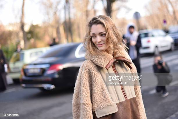 Sofia Sanchez de Betak is seen arriving at Chloe fashion show during the Paris Fashion Week Womenswear Fall/Winter 2017/2018 on March 2 2017 in Paris...
