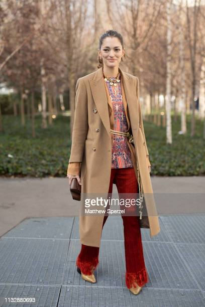 Sofia Sanchez de Betak is seen on the street attending CHLOE during Paris Fashion Week AW19 wearing CHLOE on February 28 2019 in Paris France