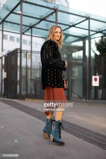 Sofia Sanchez De Betak is seen on the street during Paris Fashion Week SS19 wearing Chloe on September 27 2018 in Paris France