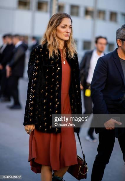 Sofia Sanchez De Betak is seen outside Chloe during Paris Fashion Week Womenswear Spring/Summer 2019 on September 27 2018 in Paris France