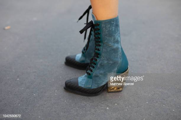Sofia Sanchez De Betak shoe detail is seen on the street during Paris Fashion Week SS19 wearing ChloŽ on September 27 2018 in Paris France