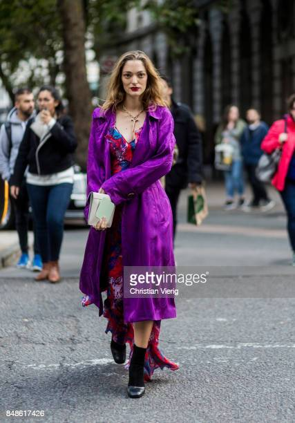 Sofia Sanchez de Betak wearing purple dress outside Peter Pilotto during London Fashion Week September 2017 on September 17 2017 in London England