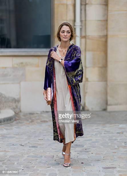 Sofia Sanchez de Betak wears a kimono outside Dior on September 30 2016 in Paris France