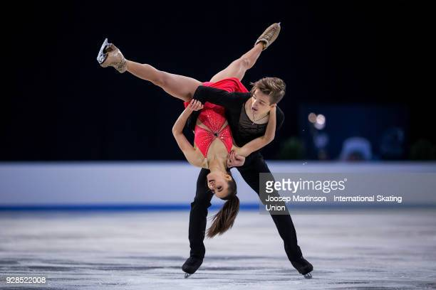 Sofia Shevchenko and Igor Eremenko of Russia compete in the Junior Ice Dance Short Dance during the World Junior Figure Skating Championships at...