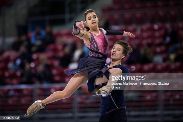 Sofia Shevchenko and Igor Eremenko of Russia compete in the Junior Ice Dance Free Dance during the World Junior Figure Skating Championships at Arena...