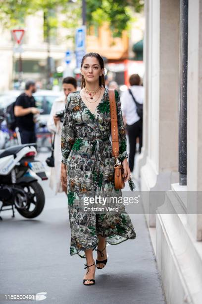 Sofia Sánchez de Betak is seen wearing dress outside Schiaparelli during Paris Fashion Week Haute Couture Fall/Winter 2019/2020 on July 01 2019 in...