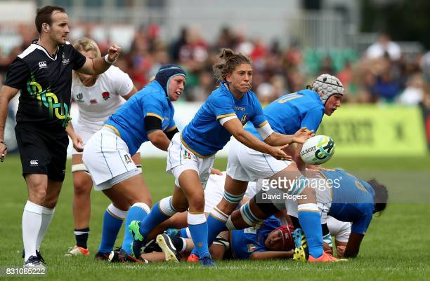 Sofia Stefan of Italy passes during the Women's Rugby World Cup 2017 between England and Italy on August 13 2017 in Dublin Ireland