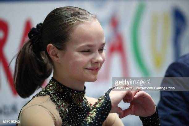 Sofia Sula of Finland look on at the kiss and cry in the Junior Ladies Free Skating Program during day four of the ISU Junior Grand Prix of Figure...