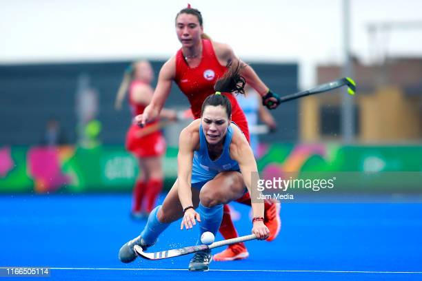 Sofia Toccalino of Argentina competes during Hockey Women Semifinals on Day 11 of Lima 2019 Pan American Games at Hockey Field of Complejo Deportivo...
