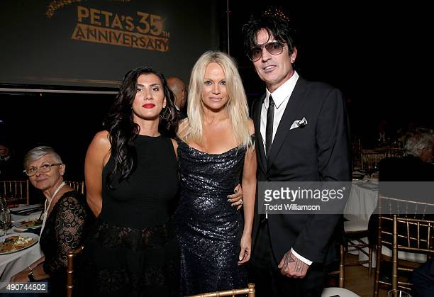 Sofia Toufa actress Pamela Anderson and musician Tommy Lee attend PETA's 35th Anniversary Party at Hollywood Palladium on September 30 2015 in Los...