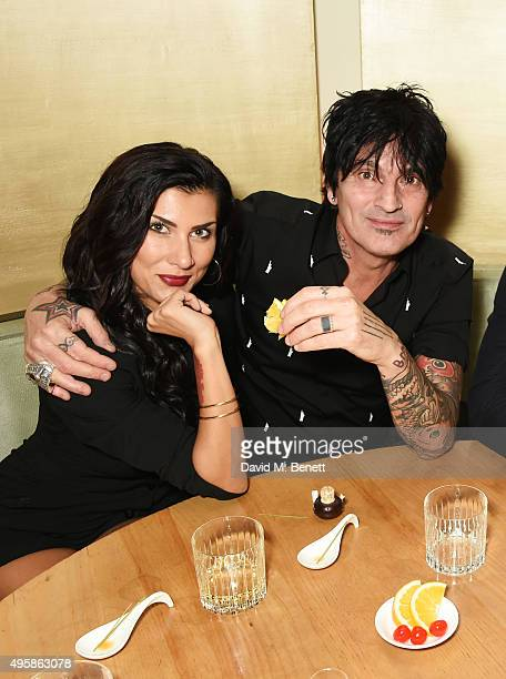 Sofia Toufa and Tommy Lee attend the Nobu Berkeley St 10th anniversary party supported by Malone Souliers and Ciroc Vodka on November 5 2015 in...