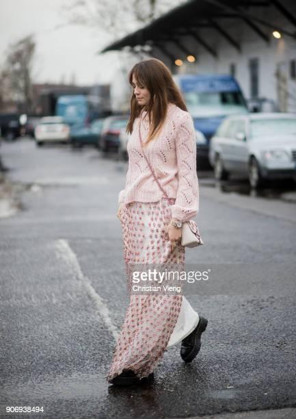 Sofia Tsakiridou wearing dress and jumper is seen outside Marina Hoermanseder during the Berlin Fashion Week January 2018 on January 18 2018 in...