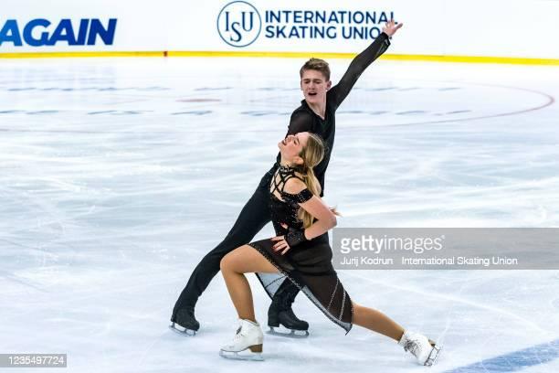 Sofia Val and Nikita Vitryanyuk of Spain perform during the ISU Junior Grand Prix of Figure Skating at Tivoli Hall on September 25, 2021 in...