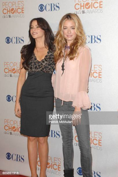 Sofia Vergara and Cat Deeley attend 2010 People's Choice Nominations Announcement Press Conference at SLS Hotel on November 10 2009 in Beverly Hills...