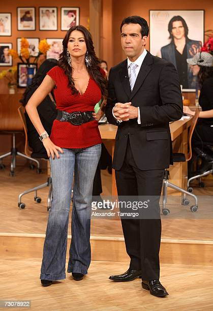 Sofia Vergara and Felipe Viel appear on the new set of Escandalo TV for their 5th Anniversay episode on January 22 2007 in Miami Florida