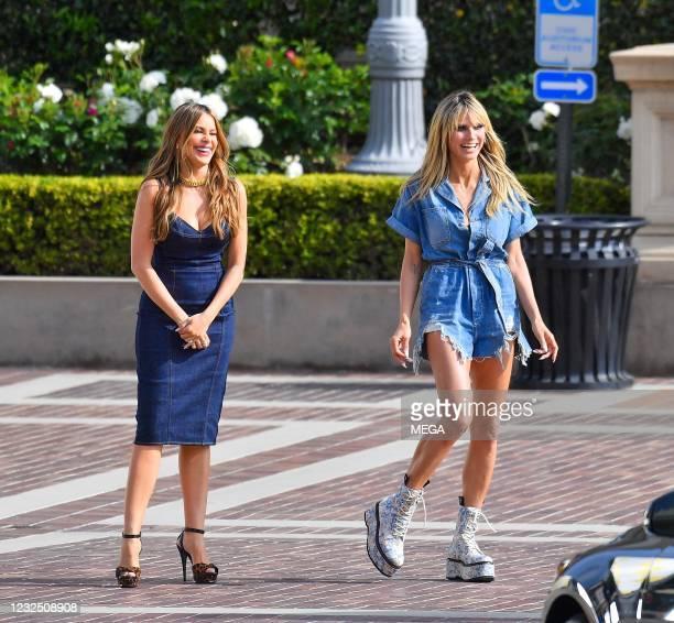 "Sofia Vergara and Heidi Klum are seen on the set of ""America's Got Talent"" on April 24, 2021 in Los Angeles, California."
