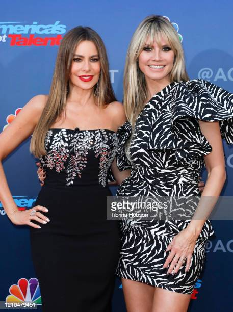 Sofia Vergara and Heidi Klum attend the America's Got Talent Season 15 Kickoff at Pasadena Civic Auditorium on March 04 2020 in Pasadena California