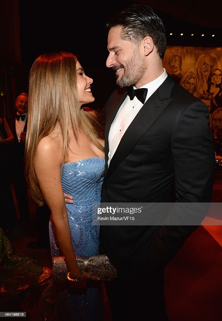Sofia Vergara and Joe Manganiello attend the 2015 Vanity Fair Oscar Party hosted by Graydon Carter at the Wallis Annenberg Center for the Performing Arts on February 22, 2015 in Beverly Hills, California.