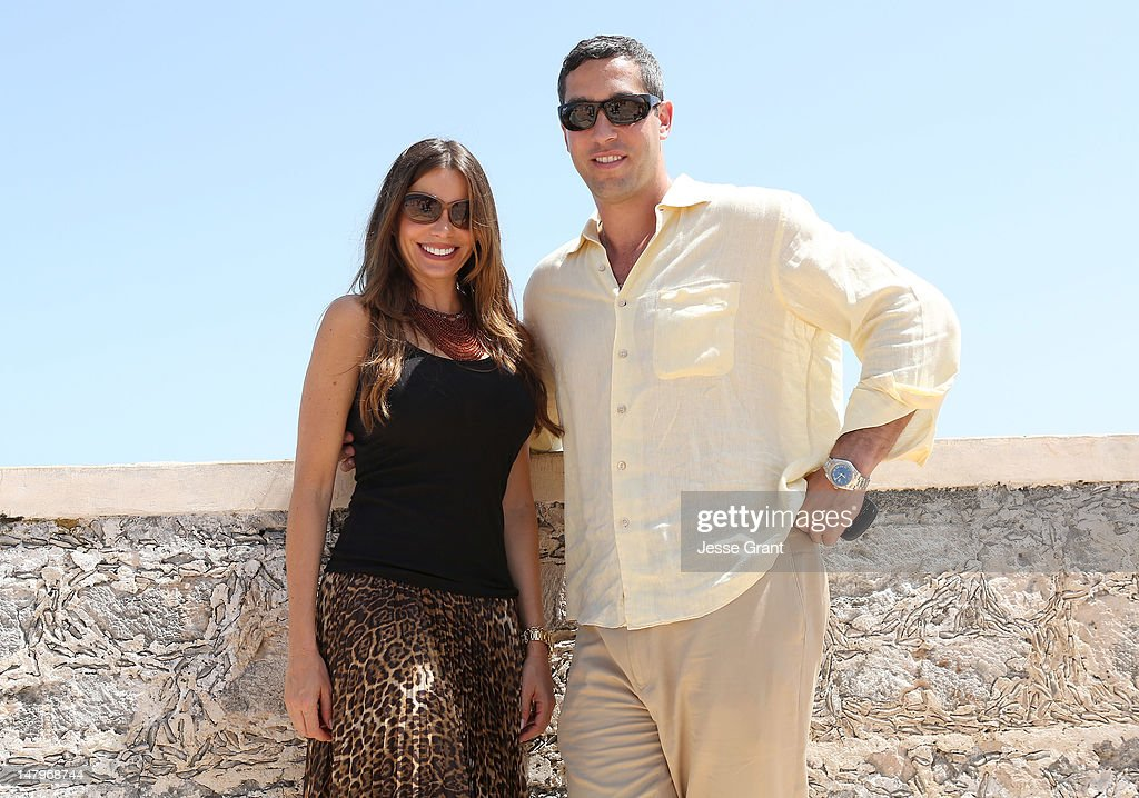 Sofia Vergara (L) and Nick Loeb kick off her 40th birthday celebration on July 6, 2012 with a visit to Campeche, Mexico.