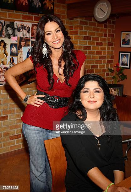 Sofia Vergara and Victoria Ruffo appear on the new set of Escandalo TV for their 5th Anniversay episode on January 22 2007 in Miami Florida