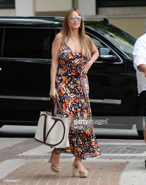Sofia Vergara arrives at an 'America's Got Talent' taping on April 23, 2021 in Los Angeles, California.