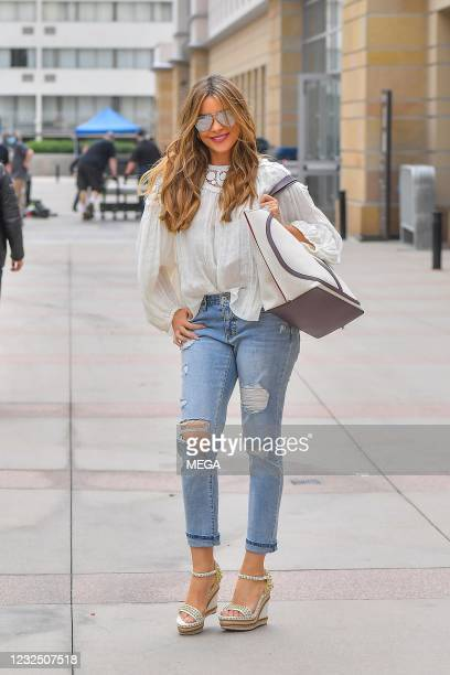 """Sofia Vergara arrives at an """"America's Got Talent"""" taping on April 24, 2021 in Los Angeles, California."""