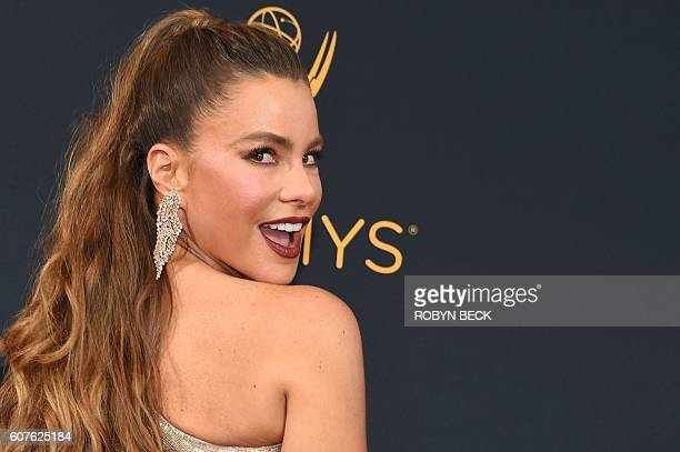 TOPSHOT Sofia Vergara arrives for the 68th Emmy Awards on September 18 2016 at the Microsoft Theatre in Los Angeles / AFP / Robyn Beck