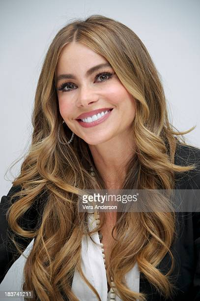 """Sofia Vergara at the """"Modern Family"""" Press Conference at the Four Seasons Hotel on October 8, 2013 in Beverly Hills, California."""