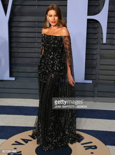 Sofia Vergara attends the 2018 Vanity Fair Oscar Party following the 90th Academy Awards at The Wallis Annenberg Center for the Performing Arts in...