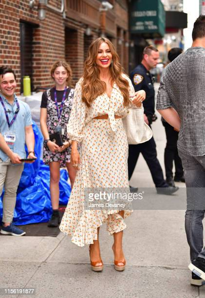 """Sofia Vergara leaves """"The Late Show with Stephen Colbert"""" at the Ed Sullivan Theater on July 17, 2019 in New York City."""