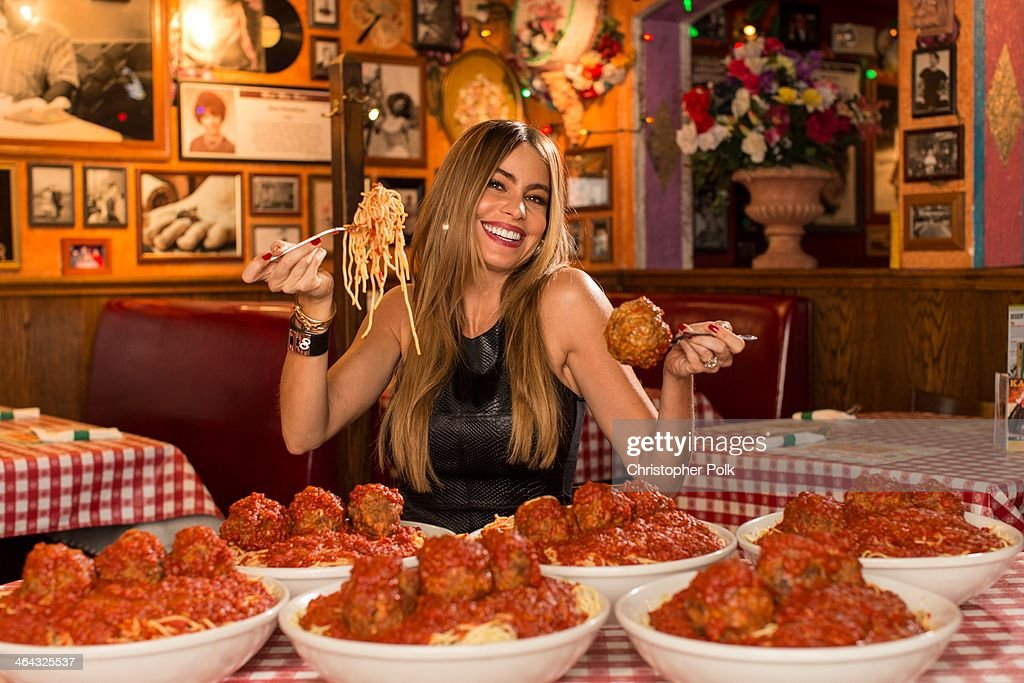 Sofia Vergara poses for 'Meatballs 4 Ninos' at Buca di Beppo on November 7, 2013 in Santa Monica, California. The Emmy-award winnning actress and philanthropist joins forces with Bucca di Beppo restuants nationwide to raise funds and awareness for St. Jude Children's Research Hospital.