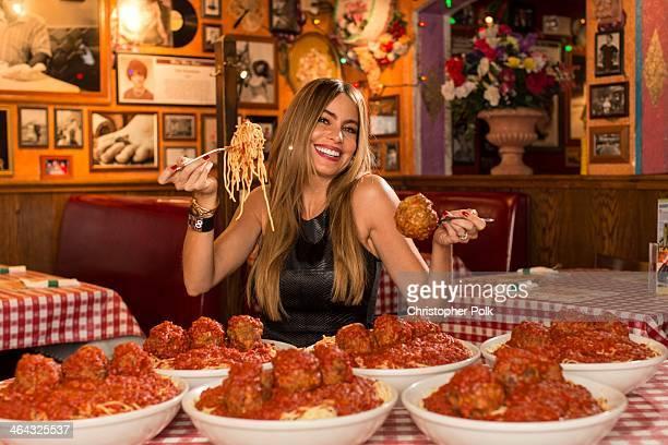Sofia Vergara poses for Meatballs 4 Ninos at Buca di Beppo on November 7 2013 in Santa Monica California The Emmyaward winnning actress and...