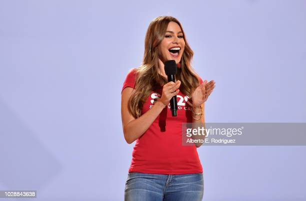 Sofia Vergara speaks onstage at the sixth biennial Stand Up To Cancer telecast at the Barkar Hangar on Friday September 7 2018 in Santa Monica...