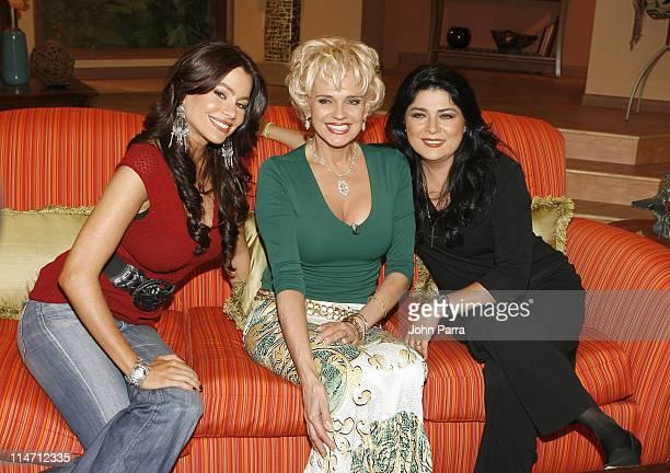 Sofia VergaraCharitin and Victoria Ruffo during Escandalo TV Celebrates a 5th Anniversary at Telefutura Studios in Miami Florida United States