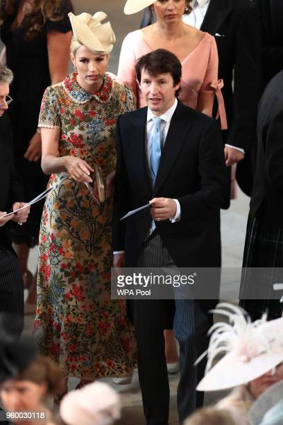 Sofia Wellesley and James Blunt arrive at St George's Chapel at Windsor Castle for the wedding of Prince Harry to Meghan Markle on May 19, 2018 in...