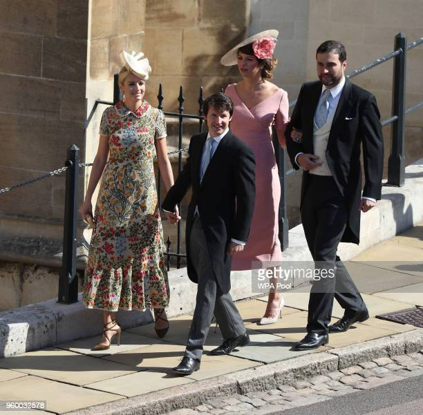 Sofia Wellesley and James Blunt arrive at St George's Chapel, Windsor Castle for the wedding of Megan Markle and Prince Harry at St George's Chapel,...