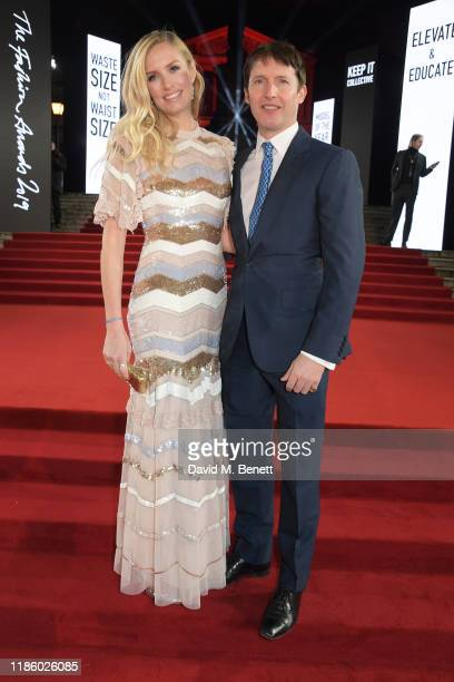 Sofia Wellesley and James Blunt arrive at The Fashion Awards 2019 held at Royal Albert Hall on December 2, 2019 in London, England.