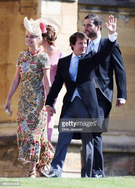 Sofia Wellesley and James Blunt arrive at the wedding of Prince Harry to Ms Meghan Markle at St George's Chapel Windsor Castle on May 19 2018 in...
