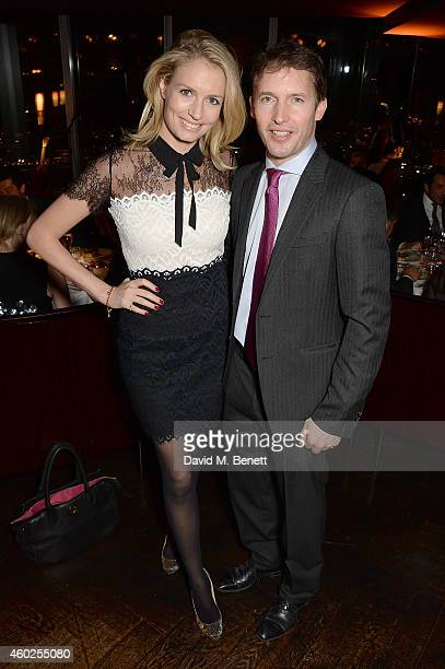 Sofia Wellesley and James Blunt attend a private dinner celebrating the opening of the OMEGA Oxford Street boutique at Aqua Shard on December 10,...
