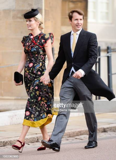 Sofia Wellesley and James Blunt attend the wedding of Princess Eugenie of York and Jack Brooksbank at St George's Chapel in Windsor Castle on October...