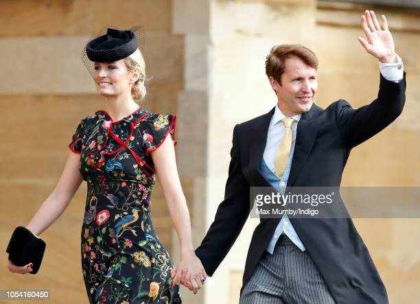 Sofia Wellesley and James Blunt attend the wedding of Princess Eugenie of York and Jack Brooksbank at St George's Chapel on October 12, 2018 in...