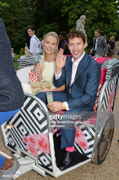 APPLIES Sofia Wellesley and singer James Blunt attend the Woodside End of Summer party to benefit the Elton John AIDS Foundation sponsored by Chopard...