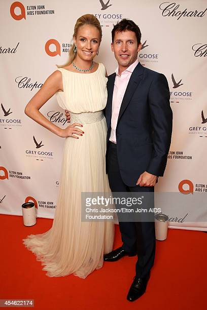 Sofia Wellesley, wearing Cortana and James Blunt attend the Woodside End of Summer party to benefit the Elton John AIDS Foundation sponsored by...