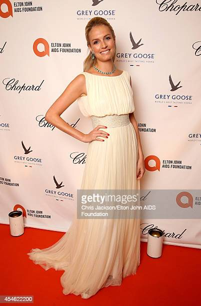 Sofia Wellesley, wearing Cortana dress and Chopard, attends the Woodside End of Summer party to benefit the Elton John AIDS Foundation sponsored by...