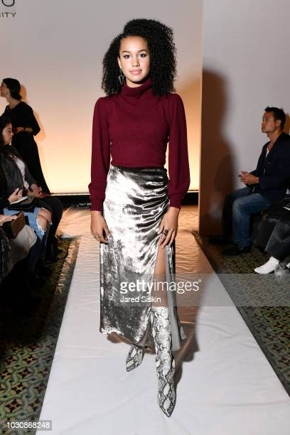 Sofia Wylie attends the Dennis Basso Spring/Summer 2019 Collection Runway Show during New York Fashion Week at Cipriani 42nd Street on September 10...