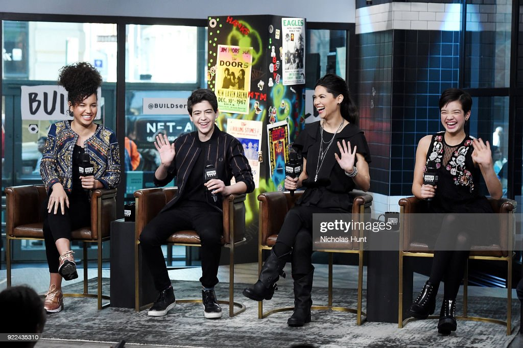 Sofia Wylie, Joshua Rush, Lilan Bowden and Peyton Lee at Build attend Build Series to discuss 'Andi Mack' Build Studio on February 21, 2018 in New York City.